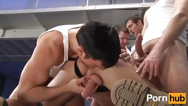 Slutty interracial dudes banging